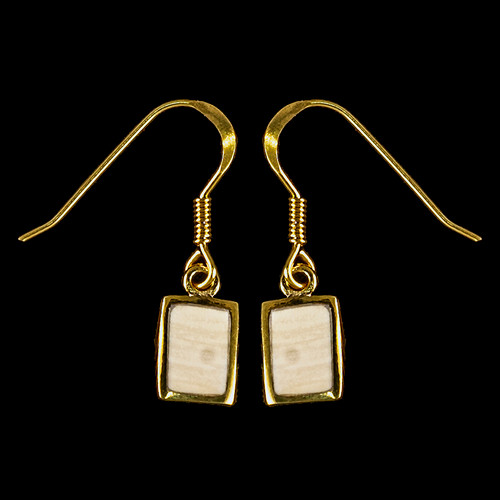 Small Rectangle Mammoth Ivory 14K Gold French Wire Earring   F&F Inc.