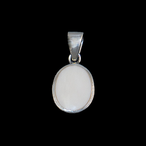 "This trendy round shaped mammoth ivory is inlayed into a round sterling silver pendant.  This pendant comes with an 18"" Sterling Silver chain.  The dimensions of the mammoth pendant tusk is approximately .5"" x .36""."