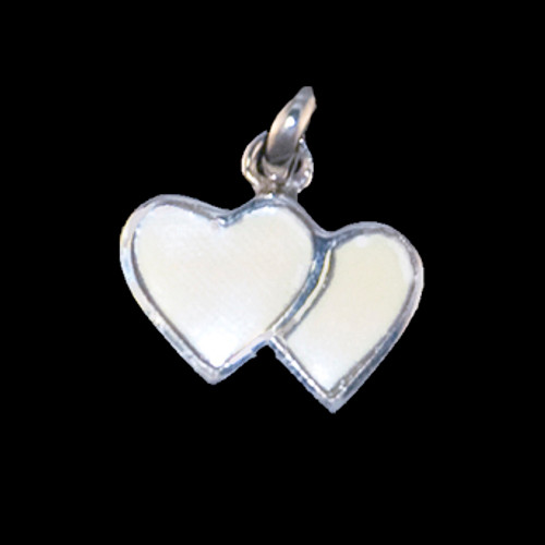"""This elegant small double heart shaped mammoth ivory tusk is inlayed into a sterling silver pendant.  This pendant comes with an 18"""" Sterling Silver chain.  The dimensions of the mammoth pendant tusk is approximately .41"""" x .63""""."""