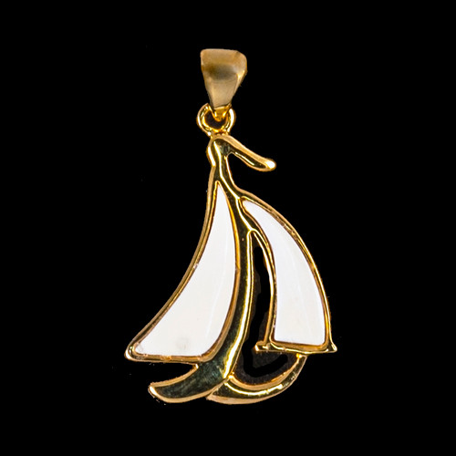 "This stunning sail boat shape is inlayed into a 14K Gold pendant.  This pendant comes with an 18"" 14K Gold chain.  The dimensions of the mammoth pendant tusk is approximately 1.10"" .72""."
