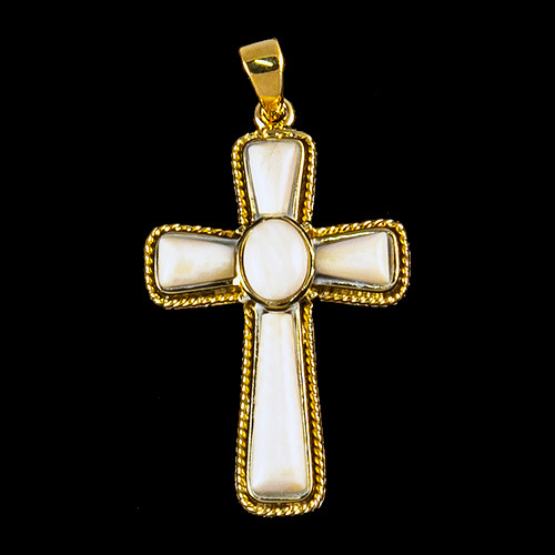 """This striking large cross shaped mammoth tusk piece is inlayed into a 14K Gold pendant. This pendant comes with an 18"""" 14K Gold chain. The dimensions of themammoth pendant tusk is approximately 1.23"""" x .79""""."""