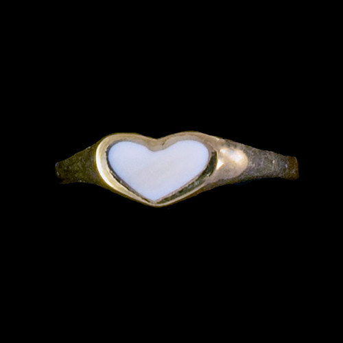 """Heart Shaped Mammoth 14K Gold Ring 