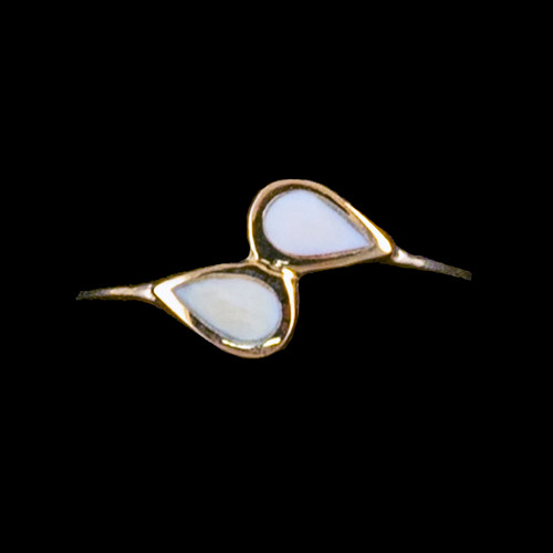 "Dual Teardrop Shaped Mammoth 14K Gold Ring | F&F Inc.This elegant dual teardrop shaped mammoth ivory is inlayed into a elegant 14K Gold ring.  The dimension of the stone on the ring is approximately .44"" x .35"".  The product id # is RM-1007-G.It is a 14K plate on sterling silver. The plating is with 30mils of 14k gold. Typically plating is done with 3mils of gold. We work with the extra gold plating to ensure your beautiful jewelry piece will have a strong gold color for years to come!!This ring comes in the following sizes for the sterling silver ring band.  Size 5, 6, 7, 8, 9 and 10"