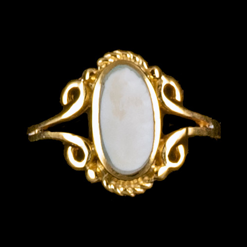 "Victorian Oval Shaped Mammoth 14K Gold Ring | F&F Inc.This charming victorian oval shaped mammoth ivory design is inlayed into a elegant 14K Gold ring.  The dimension of the stone on the ring is approximately .236"" x .394"".  The product id # is RM-1024-G.It is a 14K plate on sterling silver. The plating is with 30mils of 14k gold. Typically plating is done with 3mils of gold. We work with the extra gold plating to ensure your beautiful jewelry piece will have a strong gold color for years to come!! This ring comes in the following sizes for the sterling silver ring band.  Size 5, 6, 7, 8, 9 and 10"
