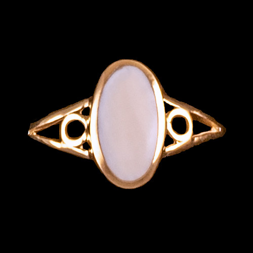 "Contemporary Oval Shaped Mammoth 14K Gold Ring | F&F Inc.This delightful contemporary oval shaped mammoth ivory design is inlayed into a unique 14K Gold ring.  The dimension of the stone on the ring is approximately .275"" x .366"".  The product id # is RM-1031-G.It is a 14K plate on sterling silver. The plating is with 30mils of 14k gold. Typically plating is done with 3mils of gold. We work with the extra gold plating to ensure your beautiful jewelry piece will have a strong gold color for years to come!!  This ring comes in the following sizes for the sterling silver ring band.  Size 5, 6, 7, 8, 9 and 10"