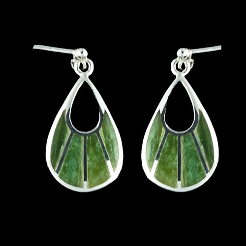 """This one of a kind fan shaped Alaskan Jade piece is inlayed into a trendy Sterling Silver earring that is accentuated with Sterling Silver bars. These chic earrings have a post backing. The measurements of the earrings are approximately .78"""" x .37""""."""