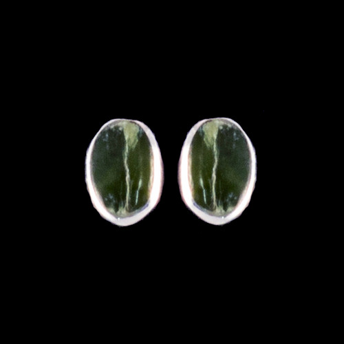 "This classy oval Alaskan Jade is inlayed into a beautiful Sterling Silver earring.  These unique earrings have a post backing.  The measurements of the earrings are approximately .33""x.22""."