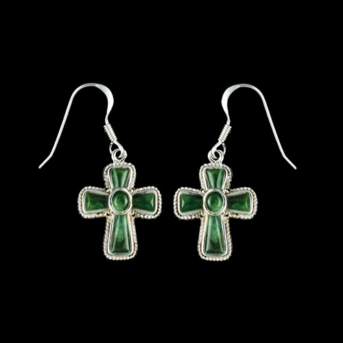 """This elegant Cross Shaped Alaskan Jade piece is inlayed into a Sterling Silver french wire earring. The measurements of the earrings are approximately .87 x .63""""."""
