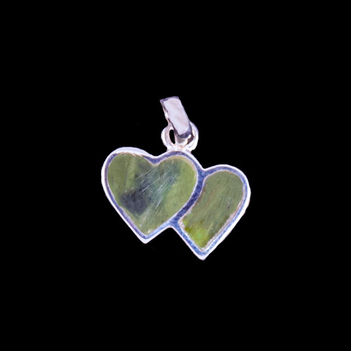 Small Double Heart Jade Sterling Silver Pendant