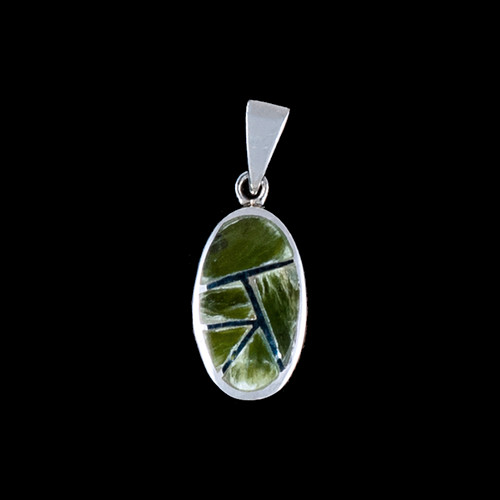 PJ-1065-S  Small Oval Jade Inlay Sterling Silver Pendant | F&F Inc.