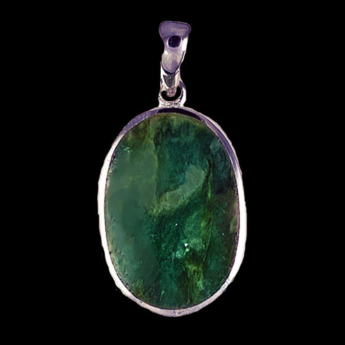 "This magnificent small oval Alaskan Jade piece is inlayed into a sterling silver pendant.  This pendant comes with an 18"" Sterling Silver chain.  The dimensions of the Alaskan Jade pendant is approximately .70"" x .46""."