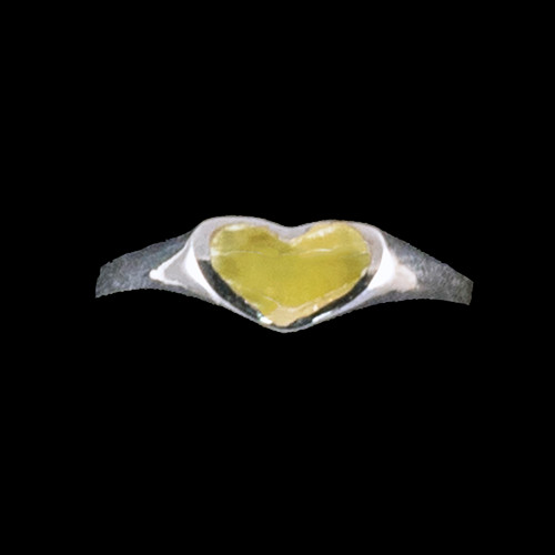 "Heart Shaped Alaskan Jade Sterling Silver Ring | F&F Inc.This gorgeous heart shaped Alaskan Jade is inlayed into a elegant sterling silver ring.  The dimension of the stone on the ring is approximately .366"" x .216"".  The product id # is RJ-1003-S.         This ring comes in the following sizes for the sterling silver ring band.  Size 5, 6, 7, 8, 9 and 10"