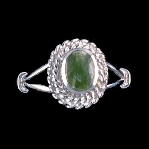 "Oval Shaped Alaskan Jade with Rope Border Sterling Silver Ring | F&F Inc.This breathtaking oval shaped Alaskan Jade design is inlayed into a elegant sterling silver ring with a rope border.  The dimension of the stone on the ring is approximately .36"" x .415"".  The product id # is RJ-1017-S.         This ring comes in the following sizes for the sterling silver ring band.  Size 5, 6, 7, 8, 9 and 10"