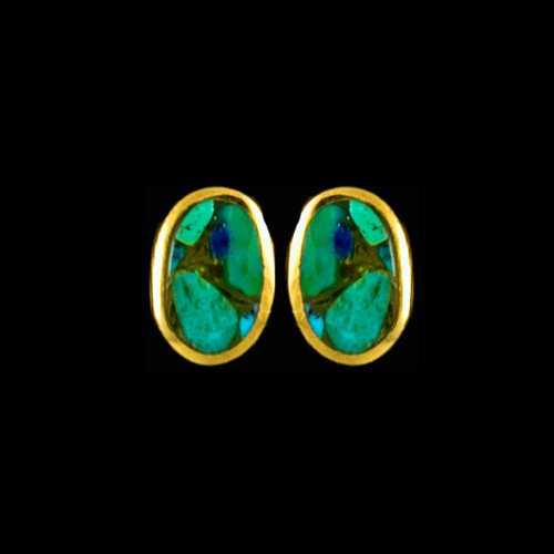 "This classy oval Northern Lights is inlaid into a beautiful 14K gold earring.  These unique earrings have a post backing.  The measurements of the earrings are approximately .33""x.22"".  The product ID is ENL-1003-G"