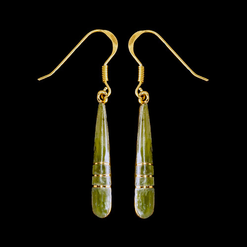 "This elegant Long Teardrop Alaskan Jade piece is inlaid into 14K Gold french wire earring.  This stylish piece is accentuated with 14K Gold bars.   The measurements of the earrings are approximately 1.20"" x .15""."