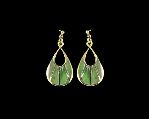 """This one of a kind fan shaped Alaskan Jade piece is inlaid into a trendy 14K Gold earring that is accentuated with 14 K Gold bars. These chic earrings have a post backing. The measurements of the earrings are approximately .78"""" x .37""""."""
