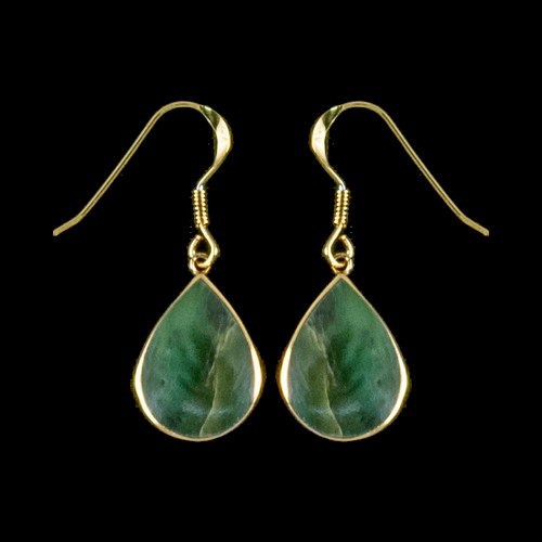 "Teardrop Alaskan Jade 14K Gold French Wire Earring | F&F Inc.This unique Teardrop Alaskan Jade piece is inlaid into 14K Gold french wire earring.  The measurements of the earrings are approximately .82"" x .50"".  The product ID is EJ-1204-G"