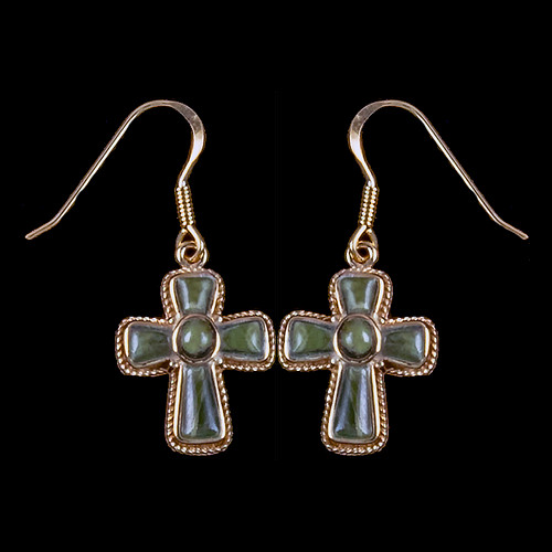"Cross Alaskan Jade 14K Gold French Wire Earring | F&F Inc.This elegant Cross shaped Alaskan Jade piece is inlaid into a 14K gold french wire earring.  The measurements of the earrings are approximately .87 x .63"".  The product ID is EJ-1210-G."