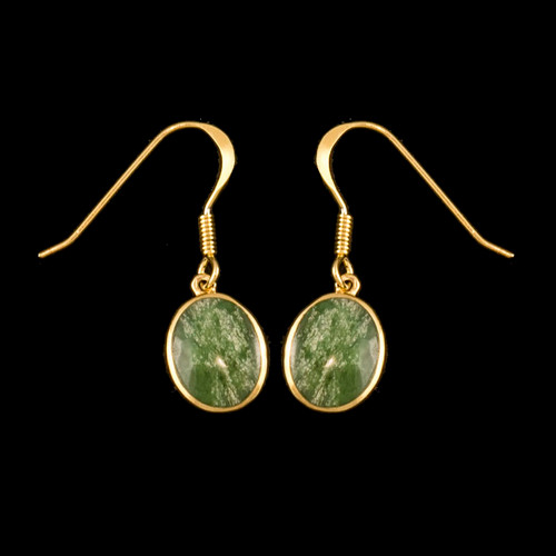 """This trendy Oval Shaped Alaskan Jade piece is inlaid into a 14K Gold french wire earring. The measurements of the earrings are approximately .375 x .380"""""""