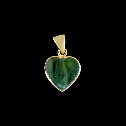 PJ-1023-G Small Heart Jade 14K Gold Pendant | F&F Inc.