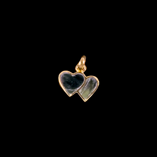 "Small Double Heart Shaped Alaskan Jade 14K Gold Pendant | F&F Inc.This elegant small double heart shaped Alaskan Jade tusk is inlayed into a 14K Gold pendant.  This pendant comes with an 18"" 14K Gold chain.  The dimensions of the Alaskan Jade pendant is approximately .41"" x .63"".  The product id # is PJ-1062-G"