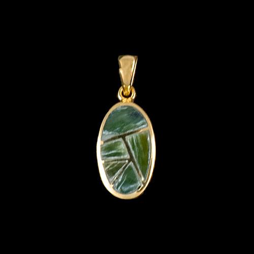 PJ-1065-G Small Oval Jade Inlay 14K Gold Pendant | F&F Inc.