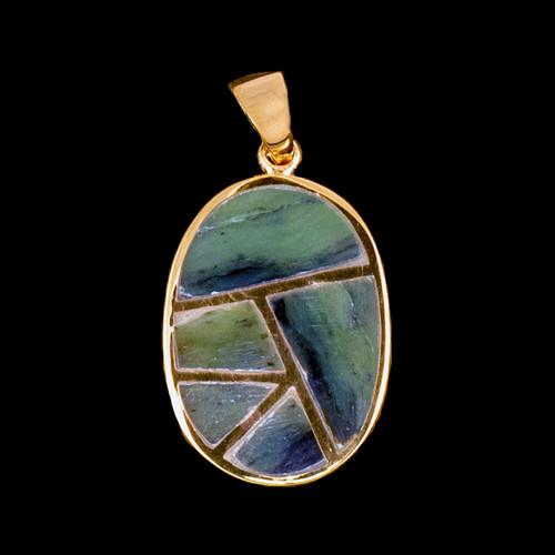 PJ-1084-G Medium Oval Jade Inlay 14K Gold Pendant | F&F Inc.