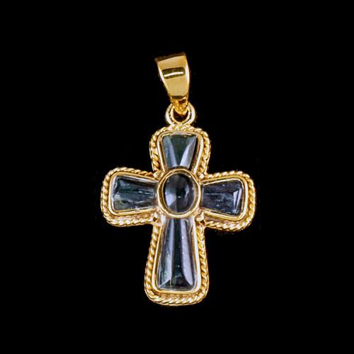 PJ-1210-G Small Cross Jade 14K Gold Pendant | F&F Inc.