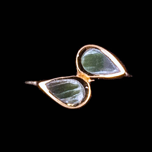 "Dual Teardrop Shaped Alaskan Jade 14K Gold Ring | F&F Inc.This elegant dual teardrop shaped Alaskan Jade is inlayed into a elegant 14K Gold ring.  The dimension of the stone on the ring is approximately .44"" x .35"".  The product id # is RJ-1007-G          This ring comes in the following sizes for the 14K Gold ring band.  Size 5, 6, 7, 8, 9 and 10"