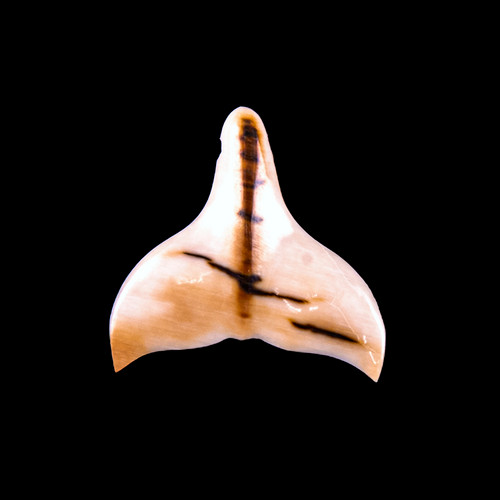 Hand Carved Single Whale Tail Mammoth Pendant
