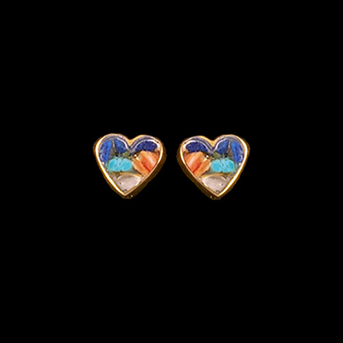 These beautiful small heart Northern Lights Stone is inlaid into a beautiful 14K Gold earring.