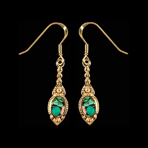 "This chic small oval Northern Lights stone is inlayed into a stylish dangle 14K Gold earring with french wire.  The measurements of the earrings are approximately .96"" x .29""."