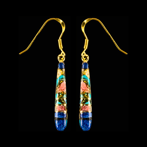 "This elegant Long Teardrop Northern Lights Stone is inlaid into 14K Gold french wire earring.  This stylish piece is accentuated with 14K Gold bars.   The measurements of the earrings are approximately 1.20"" x .15""."