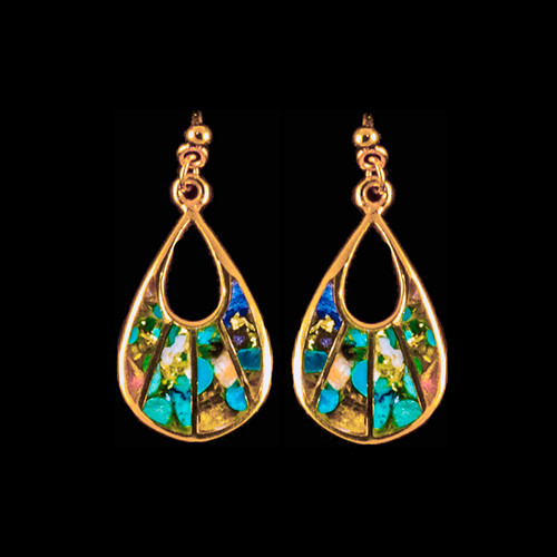 "This one of a kind fan shaped Northern Lights Stone is inlaid into a trendy 14K Gold earring that is accentuated with 14K Gold bars.  These chic earrings have a post backing.  The measurements of the earrings are approximately .78"" x .37"".  The product ID is ENL-1080-G"