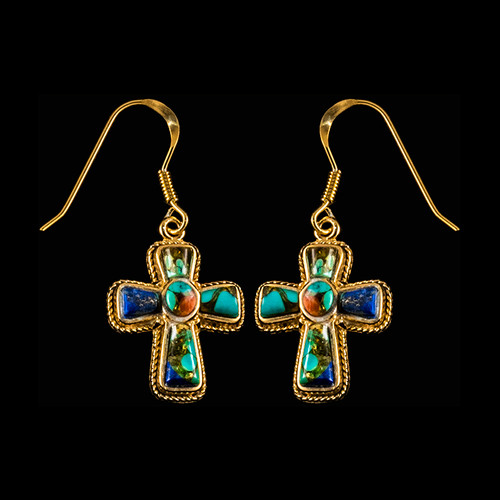 "This elegant Cross Shaped Northern Lights Stone is inlaid into a 14K Gold french wire earring.  The measurements of the earrings are approximately .87 x .63"".  The product ID is ENL-1210-G."