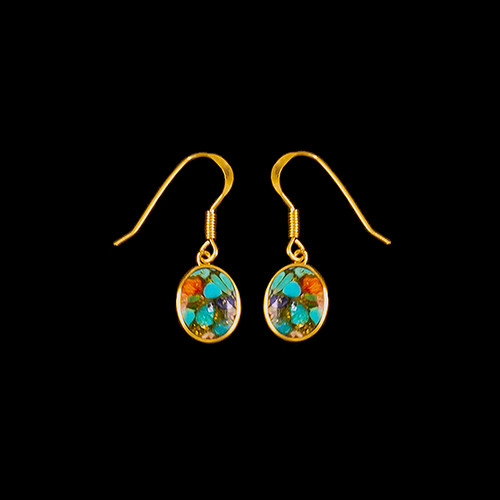 "This trendy Oval Shaped Northern Lights Stone is inlaid into a 14K Gold french wire earring.  The measurements of the earrings are approximately .375 x .380"".  The product ID is ENL-1213-G."