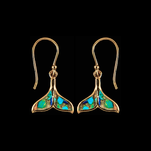 "This elegant whale tail shaped Northern Lights Stone is inlaid into a 14K Gold french wire earring.  The measurements of the earrings are approximately .624"" x .58"".  The product ID is ENL-1221-G."