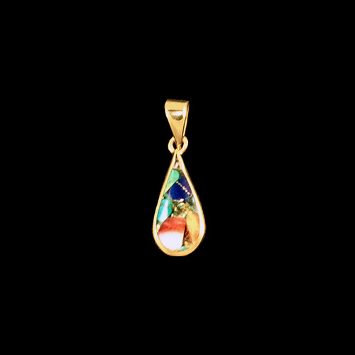 "This rare teardrop Northern Lights Stone is inlayed into a 14K Gold pendant.  This pendant comes with an 18"" 14K Gold chain.  The dimensions of the Northern Lights Stone is approximately .74"" x .32"".  The product id # is PNL-1018-G."