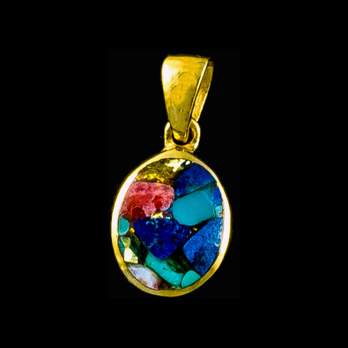 """This trendy round shaped Northern Lights Stone is inlayed into a round 14K Gold pendant. This pendant comes with an 18"""" 14K Gold chain. The dimensions of the Northern Lights Stone Pendant is approximately .5"""" x .36"""". The product id # is PNL-1022-G."""