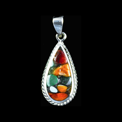 """This elegant teardrop shaped Northern Lights Stone piece is inlayed into a sterling silver pendant with a rope border. This pendant comes with an 18"""" Sterling Silver chain. The dimensions of the Northern Lights Stone pendant is approximately 1.23"""" x .79"""". The product id # is PNL-1078-S."""