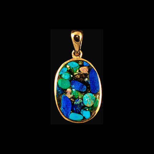 "This magnificent small oval Northern Lights Stone piece is inlayed into a 14K Gold pendant.  This pendant comes with an 18"" 14K Gold chain.  The dimensions of the Northern Lights Stone pendant is approximately .70"" x .46"".  The product id # is PNL-1072-G."
