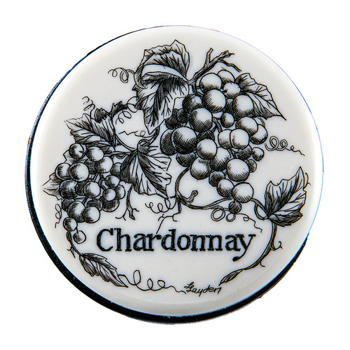 """This is for our Vacuum Wine Pumps, that is topped off with a Chardonnay Resin Scrimshaw design. The Vacuum Wine pump is approximately 1.69"""" x 3.36"""". The Product ID # is NC 99 - Chardonnay."""