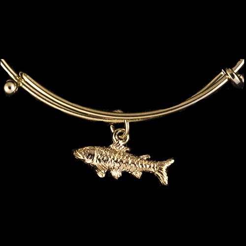 Gold Fish Charm Adjustable Wire Bracelet