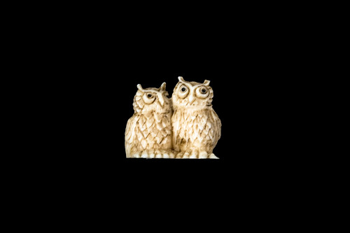 """This is a beautiful hand carved eco-ivory Double Owl Statue. The dimensions of the Double Owl Statue are 1.22"""" x 1.08"""" x .78"""". The SKU is C-18.  This unique Double Owl Statue statue will make a great addition to any room in the house. You can place it on any flat surface to diplay, or a great gift for children to have.  All statues are hand carved in clay. We then make a mold of the original piece before producing them into the final acrylic resin product with an antique finish."""