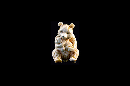 Hand Carved Eco Ivory Bear Holding Baby Bear Statue | F&F Inc.