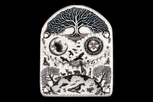 "This is a gorgeous wall plaque was originally hand etched Small Tree of Life Wall Plaque design.  This is part of the incredible line of Mossup Valley Designs that we carry, with the wonderful artist Rachel Badeau.  The dimensions of the plaque are 3.38"" x 4.36"" x 0.32"".  The SKU is MVD WP 4.  Rachel Badeau has been etching and engraving in a variety of media for over thirty years.  Her work, characterized by fine line and intricate detail, attempts to touch the hearts and emotions of others.  All while reflecting her love of animals, nature and the human spirit.    The resin scrimshaw piece is originally hand etched by Rachel Badeau.  We make a mold of the original piece and do an open cast pour of our resin mixture.  The pieces are removed from the mold and sanded and inked."