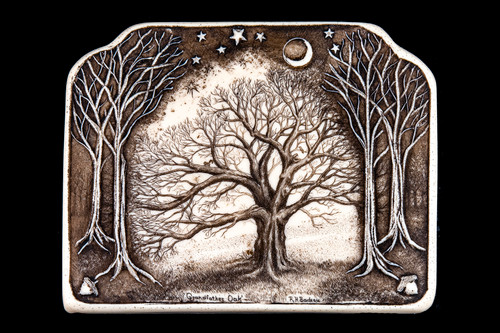 """This is a gorgeous wall plaque was originally hand etched Small Grandfather Oak Wall Plaque design. This is part of the incredible line of Mossup Valley Designs that we carry, with the wonderful artist Rachel Badeau. The dimensions of the plaque are 5.37"""" x 4.25"""" x 0.31"""". The SKU is MVD WP 7.  Rachel Badeau has been etching and engraving in a variety of media for over thirty years. Her work, characterized by fine line and intricate detail, attempts to touch the hearts and emotions of others. All while reflecting her love of animals, nature and the human spirit.  The resin scrimshaw piece is originally hand etched by Rachel Badeau. We make a mold of the original piece and do an open cast pour of our resin mixture. The pieces are removed from the mold and sanded and inked."""