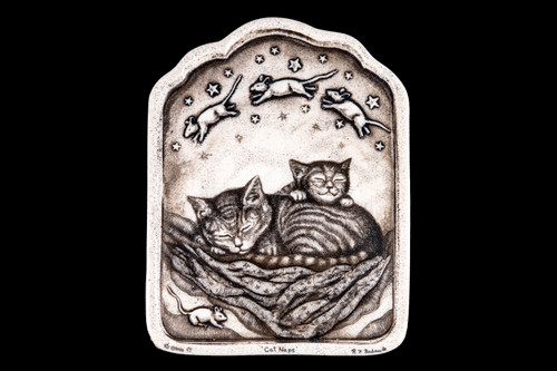 """This is a gorgeous wall plaque was originally hand etched Cat Naps Wall Plaque design. In this unique wall plaque is a depiction of two cats sleeping while dreaming of mice. This is part of the incredible line of Mossup Valley Designs that we carry, with the wonderful artist Rachel Badeau. The dimensions of the plaque are 4.57"""" x 6.04"""" x 0.30"""". The SKU is MVD WP 10.  In the intricate design of this beautiful plaque, is 3D carvings throughout the piece. Some of the aspects that are 3D are the mice and the stars.  Rachel Badeau has been etching and engraving in a variety of media for over thirty years. Her work, characterized by fine line and intricate detail, attempts to touch the hearts and emotions of others. All while reflecting her love of animals, nature and the human spirit."""