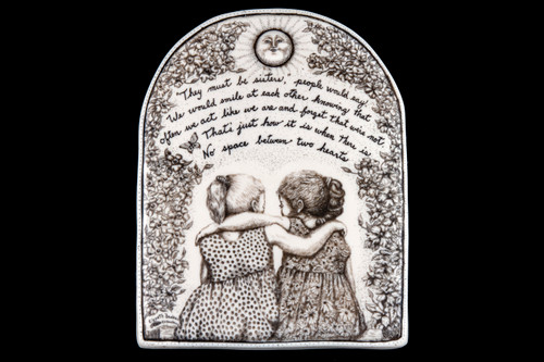 "This is a gorgeous wall plaque was originally hand etched Like Sisters Wall Plaque design.  This is part of the incredible line of Mossup Valley Designs that we carry, with the wonderful artist Rachel Badeau.  The dimensions of the plaque are 5.30"" x 6.79"" x 0.37"".  The SKU is MVD WP 11.  Rachel Badeau has been etching and engraving in a variety of media for over thirty years.  Her work, characterized by fine line and intricate detail, attempts to touch the hearts and emotions of others.  All while reflecting her love of animals, nature and the human spirit.    The resin scrimshaw piece is originally hand etched by Rachel Badeau.  We make a mold of the original piece and do an open cast pour of our resin mixture.  The pieces are removed from the mold and sanded and inked."