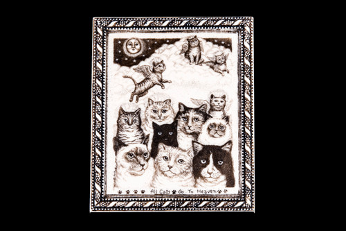 "This is a gorgeous wall plaque was originally hand etched Medium All Cat's Go to Heaven Wall Plaque design.  This is part of the incredible line of Mossup Valley Designs that we carry, with the wonderful artist Rachel Badeau.  The dimensions of the plaque are 4.57"" x 5.57"" x 0.32"".  The SKU is MVD WP 12.  Rachel Badeau has been etching and engraving in a variety of media for over thirty years.  Her work, characterized by fine line and intricate detail, attempts to touch the hearts and emotions of others.  All while reflecting her love of animals, nature and the human spirit.    The resin scrimshaw piece is originally hand etched by Rachel Badeau.  We make a mold of the original piece and do an open cast pour of our resin mixture.  The pieces are removed from the mold and sanded and inked."